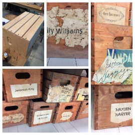 Mentoring students: aged crates/labels